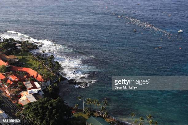 An aeriel view as swimmers compete during the IRONMAN World Championship on October 14 2017 in Kailua Kona Hawaii