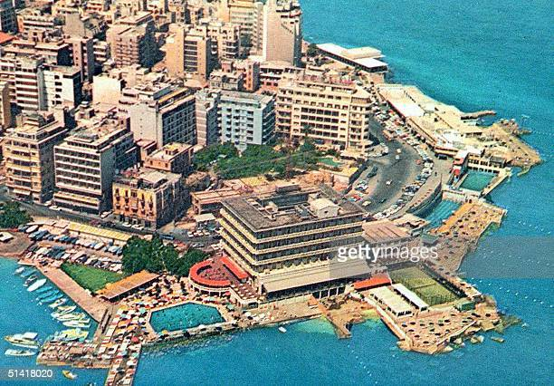 An aeriel view dated in the early 1970s shows Saint George hotel in Beirut which is scheduled to reopen after renovations on the first day of the new...