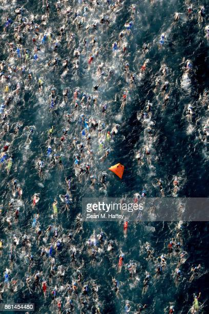 An aeriel view of the IRONMAN World Championship on October 14 2017 in Kailua Kona Hawaii