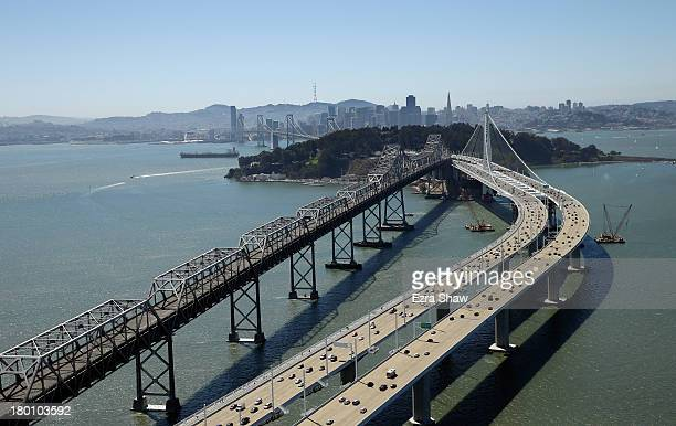An aeriel view of the new eastern span of the San FranciscoOakland Bay Bridge on September 7 2013 in San Francisco California