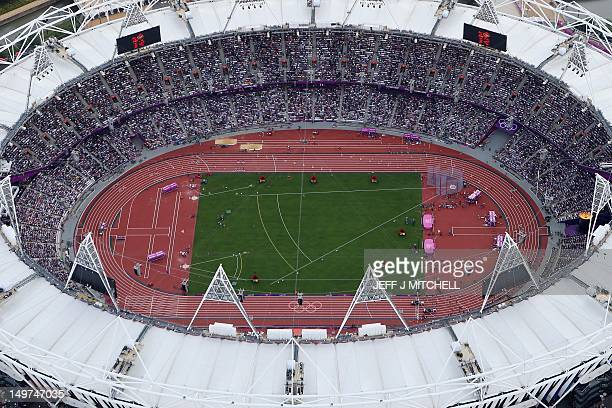 An aeriel view taken on August 3 2012 shows the Olympic stadium with tracks prepared for the athletics competition at the Olympic Park on day 7 of...