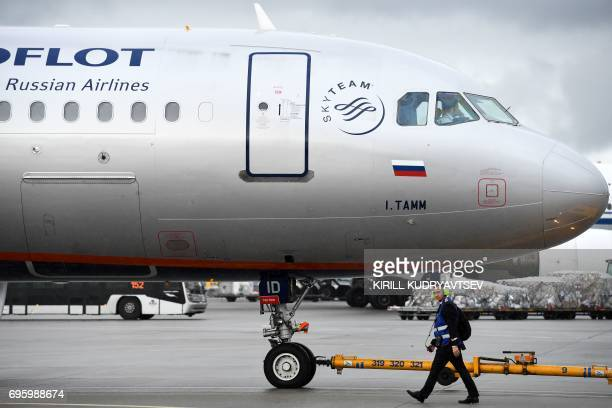 An Aeroflot's aircraft taxis at Moscow's Sheremetyevo international airport on June 14 2017 / AFP PHOTO / Kirill KUDRYAVTSEV