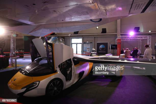 An AeroMobil flying car sits on display during the 53rd International Paris Air Show at Le Bourget in Paris France on Monday June 19 2017 The show is...