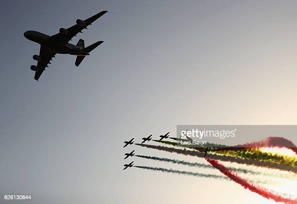 An aeronautical display over the grid before the Abu Dhabi Formula One Grand Prix at Yas Marina Circuit on November 27 2016 in Abu Dhabi United Arab...