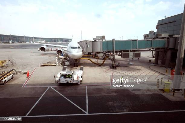 An aeroplane at the airport in Doha Qatar 5 March 2017 Several Arab Gulf states and Egypt have broken off diplomatic ties with Qatar Photo Jochen...