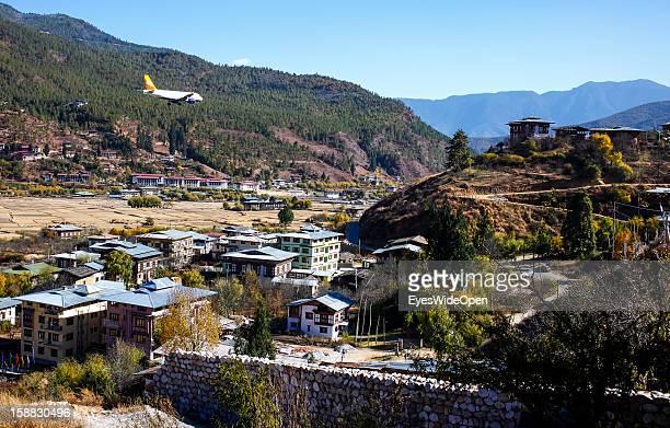 An aeroplane of the Royal Bhutan Airline Drukair on arrival at Paro Airport one of the most dangerous airports in the world on November 18 2012 in...