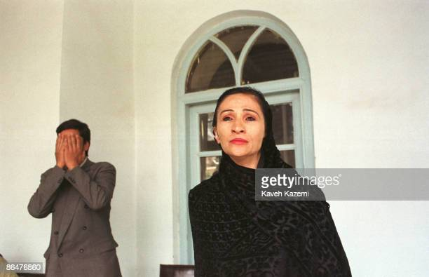 An Afghan actress rehearses a scene with a male colleague in the post-Taliban national theatre academy in Kabul, 20th April 2002.