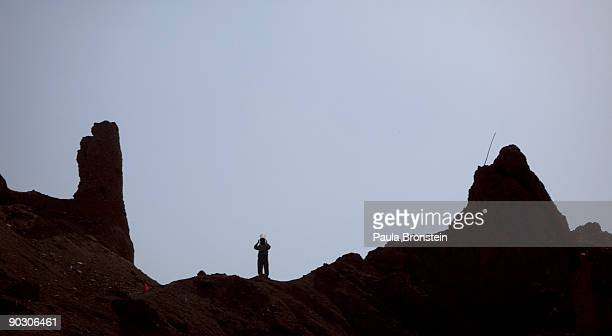 An Afghan deminer stands on top of the archaelogical site of Shahr-i-Zohak September 2 , 2009 in Bamiyan, Afghanistan. Afghan Technical Concultants...