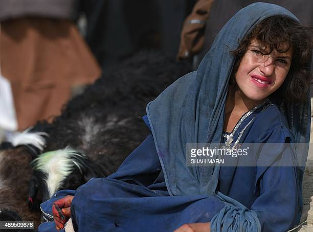 An Afghan girl looks on as she waits for customers at a livestock market ahead of the sacrificial Eid alAdha festival in Kabul on Septmber 22 2015...