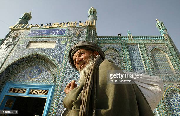 An Afghan man visits the Blue Mosque as election officials prepare for the presidential elections October 3 2004 in Mazar I Sharif Afghanistan On...