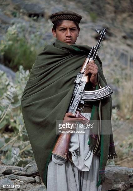 An Afghan mujahid The mujahideen fought against the Soviet invasion of Afghanistan during the 1980s that began on December 25 1979 | Location Asmar...