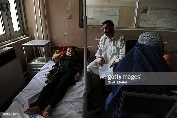 An Afghan schoolgirl suffering from suspected poisoning receives treatment at a hospital in Kabul on August 25 2010 About 40 schoolgirls fell ill and...