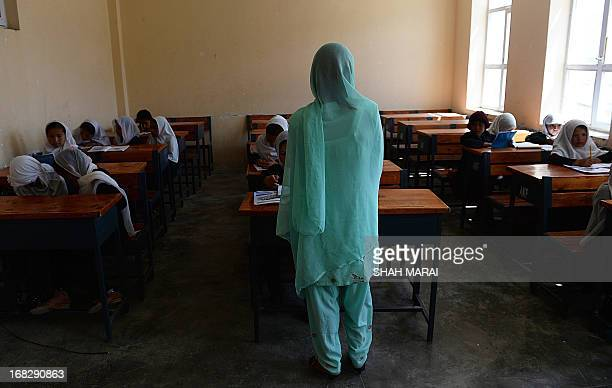 An Afghan teacher speaks to students during a lesson in Qara Zaghan village in Baghlan province on May 7 2013 Afghanistan's education minister has...