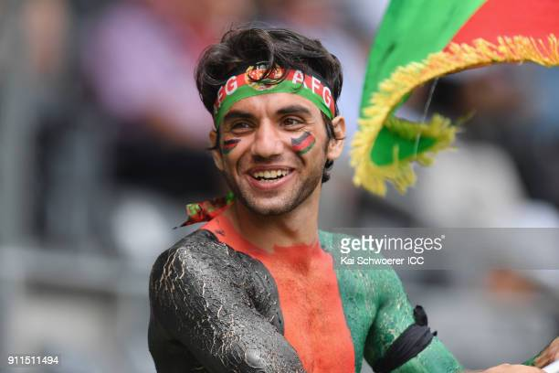 An Afghanistan fan shows his support during the ICC U19 Cricket World Cup Semi Final match between Australia and Afghanistan at Hagley Oval on...