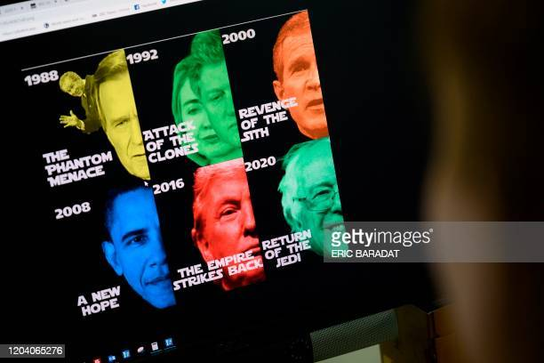 An AFP journalist looks at a computer screen displaying a political meme based on the Star Wars movie series announcing Bernie Sanders as the new US...