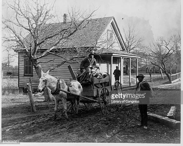 An African American drives a muledrawn wagon down a mudy farm road 1886