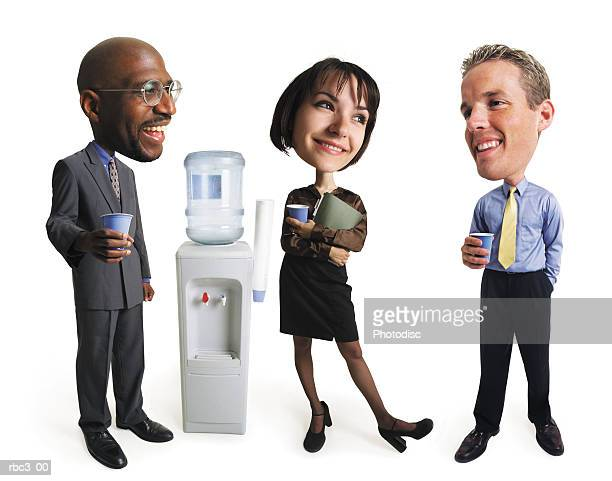 an african american man, a caucasian man, and a woman stand around a water cooler talking and laughing - interracial cartoon stock-fotos und bilder