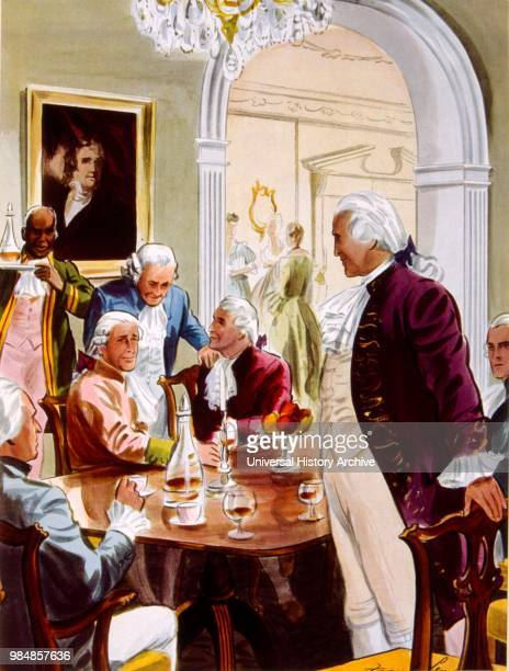 An African American slave servant serves drinks to George Washington