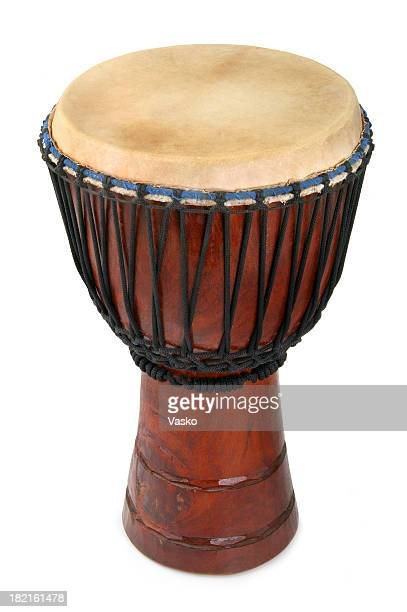 An African Djembe drum on a white background