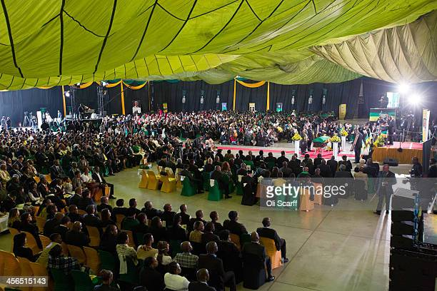 An African National Congress led alliance send off ceremony for former South African president Nelson Mandela takes place at Waterkloof military...