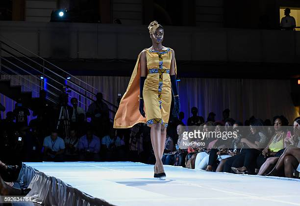 An African origin model during the African Fashion Week in TorontoCanada on 20th August2016