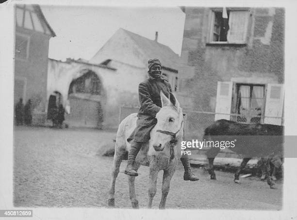 An AfricanAmerican soldier of the 369th Infantry Regiment formerly the 15th New York National Guard on the Western Front during World War One France...