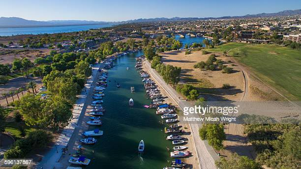 an afternoon boating on the havasu river. - lake havasu stock photos and pictures