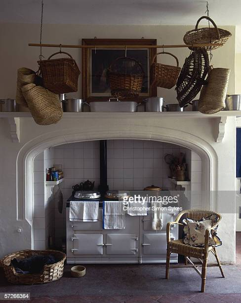 An aga in the kitchen of a stately home circa 2005