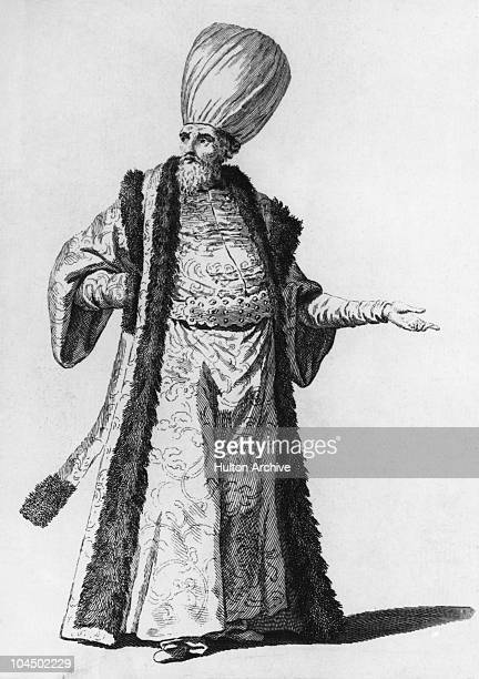 An aga or regimental commander of the Janissary the Ottoman sultan's household troops in uniform circa 1700