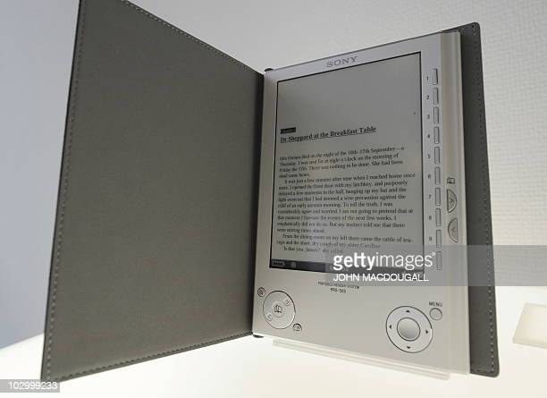 An Agatha Christie murder mistery is displayed on a Sony ereader device at the Frankfurt Book Fair October 15 2008 Turkey is guest of honour at the...