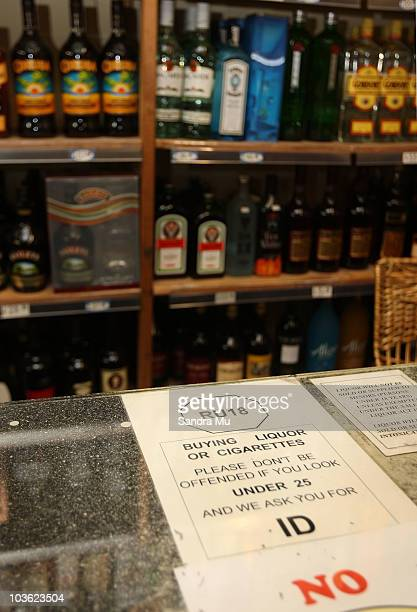 An age restriction notice is displayed inside an off licence liquor store at Manukau on August 25 2010 in Auckland New Zealand The key points of the...
