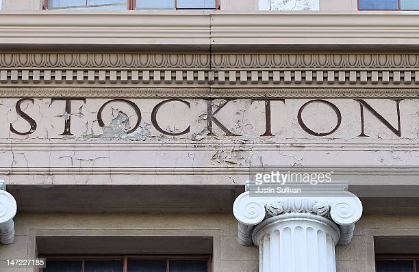 An aging sign is seen at Stockton City Hall on June 27, 2012 in Stockton, California. Members of the Stockton city council voted 6-1 on Tuesday to...