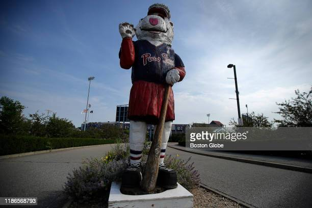 An aging wooden statue of the team mascot greets visitors to McCoy Stadium in Pawtucket RI on July 11 2019 The city will be losing the TripleA...