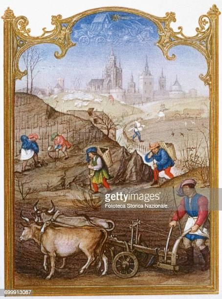 An agriculture scene for the month of March the preparation of rows and plowing with a team of oxen two peasants carrying large baskets on their...