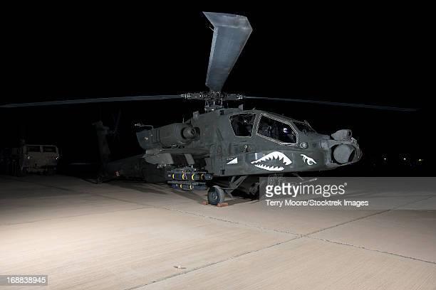 An AH-64D Apache Longbow at night, Tikrit, Iraq.