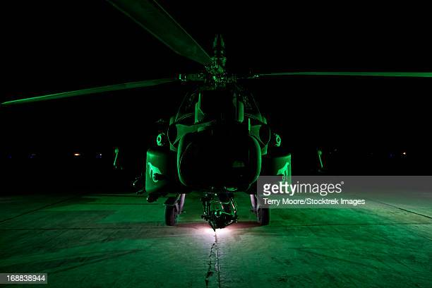An AH-64D Apache Longbow parked at a military base in Tikrit, Iraq.