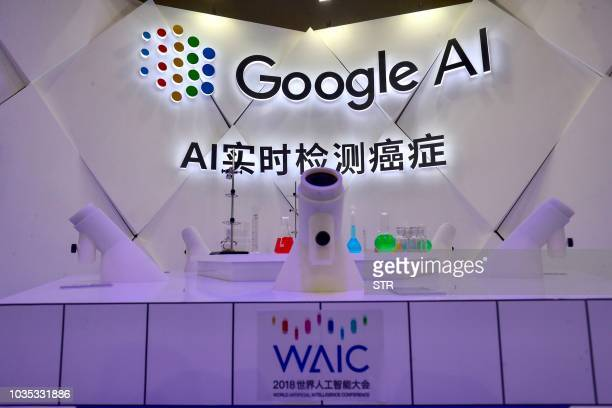 An AI cancer detection microscope by Google is seen during the World Artificial Intelligence Conference 2018 in Shanghai on September 18 2018 / China...
