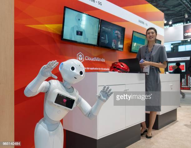 An AI robot by CloudMinds is seen during the Mobile World Conference in Shanghai on June 27 2018 / China OUT