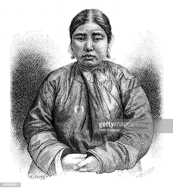 An Ainu girl Japan 1895 From The Universal Geography with Illustrations and Maps division XII written by Elisee Reclus and published by Virtue Co...