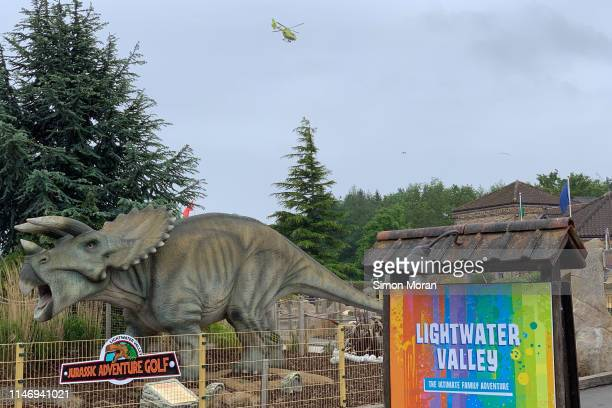 An air ambulance airlifts a boy who fell from a roller coaster at Lightwater Valley theme park on May 30 2019 in North Stainley England The boy was...