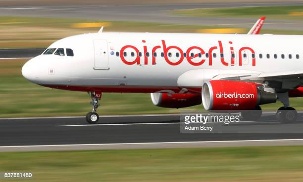 An Air Berlin airplane lands at Tegel Airport on August 23 2017 in Berlin Germany Air Berlin's creditors are meeting to discuss acquisition of the...