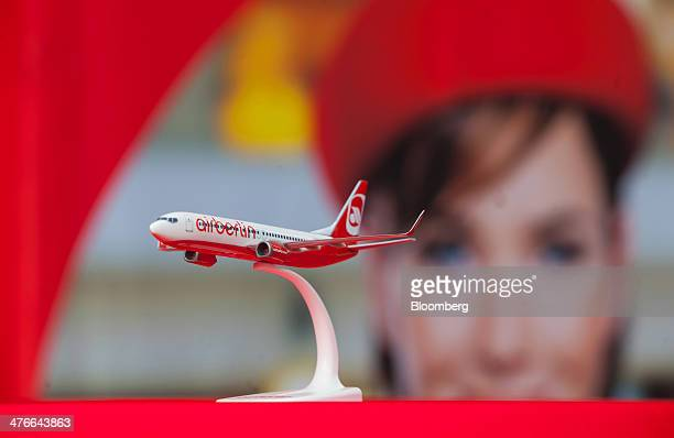 An Air Berlin model aircraft sits on display during a news conference at the company's headquarters in Berlin Germany on Tuesday March 4 2014 Air...