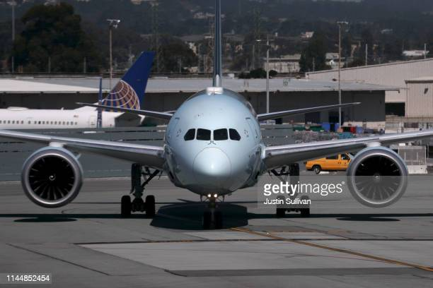 An Air Canada Boeing 787 Dreamliner taxis on the runway at San Francisco International Airport on April 24 2019 in San Francisco California Boeing's...