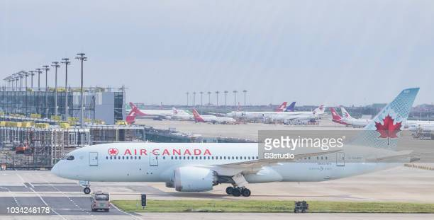 An Air Canada Boeing 7878 Dreamliner in runaway at Shanghai Pudong International Airport on September 08 2018 in Shanghai China