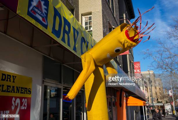 An air dancer device moves uncontrollably as it aims to attract attention to a store January 9 2018 in Washington DC