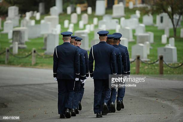 An Air Force Honor Guard casket team prepars for the arrival of the remains of Maureen O'Hara also known as Maureen FitzSimons Blair at Arlington...