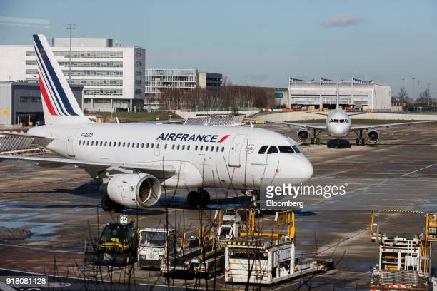 An Air France Airbus A318 aircraft operated by Air FranceKLM Group taxis on the tarmac at Charles de Gaulle airport operated by Aeroports de Paris in...