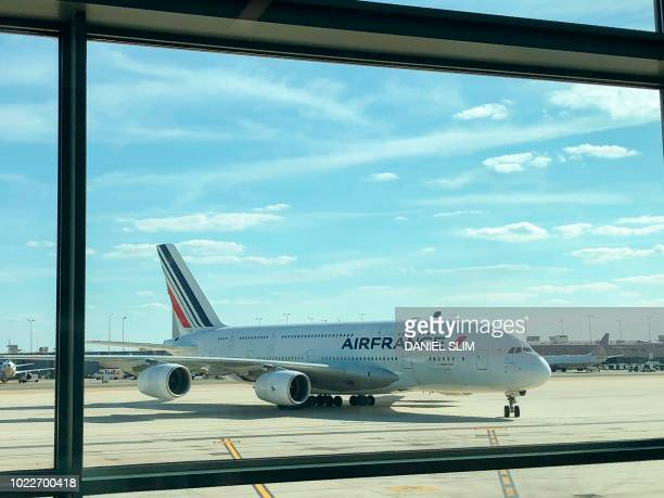 An Air France Airbus A380 is seen taxiing at Dulles International Airport in Virginia on August 24 2018