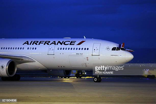 An Air France airliner arrives at the Imam Khomeini international airport in the Iranian capital Tehran on April 17 2016 The first Air France flight...