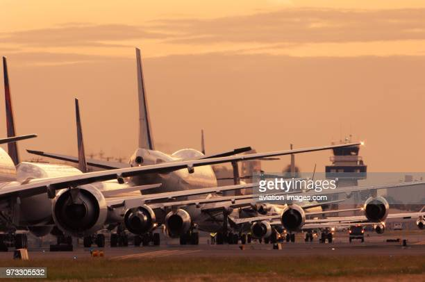 an Air France Boeing 777300 a Delta Air Lines 767300 a Continental Airlines 757200 the RollsRoyce 747200 Trent 1000 engine test bed an Alaska...